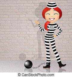 prisoner with ball and chain