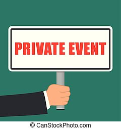 private event sign flat concept