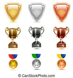 prizes icons - illustration of prizes icons on white...