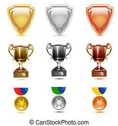 prizes icons - illustration of prizes icons on white...
