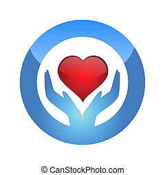 illustration of protect heart on isolated background