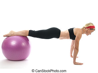 illustration of push ups on fitness core training ball with push up bars by attractive middle age fitness trainer teacher woman exercising and stretching