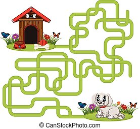 Puzzle game template with dog and doghouse