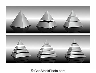 pyramid - illustration of pyramids cut in different layers