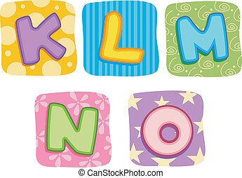 Illustration of Quilt Alphabet Letters K L M N O