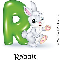 Illustration of R letter for Rabbit