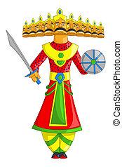 Raavana - illustration of Raavana with ten heads for...