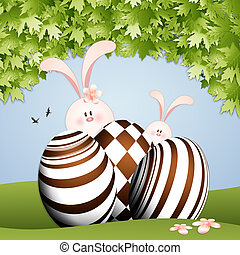 Rabbit with chocolate eggs for Easter - illustration of...