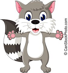 Raccoon cartoon waving - illustration of Raccoon cartoon...