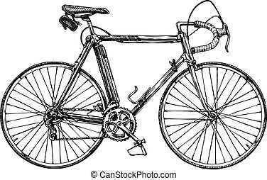 illustration of racing bicycle - Vector hand drawn...