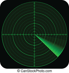 illustration of radar in green colors tones and on black background