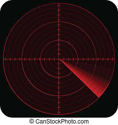 radar - illustration of radar in red color tones and on...