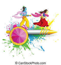 Radha and Lord Krishna playing Holi - illustration of Radha...