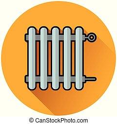radiator circle orange icon concept - Illustration of...