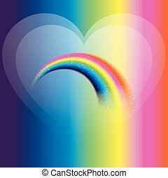 Rainbow icon with love background