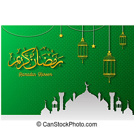 Ramadan Kareem greeting card with mosque and hanging Lantern
