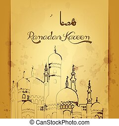Ramadan kareem with mosque