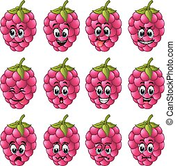 Raspberry with different emoticons
