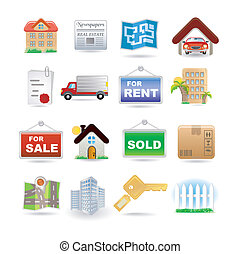 real estate - Illustration of real estate icon set