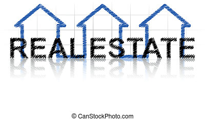 real estate - illustration of real estate text with three ...