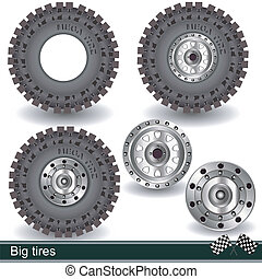big tires - Illustration of realistic big tires with rims, ...