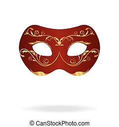 Illustration of realistic carnival or theater mask isolated...