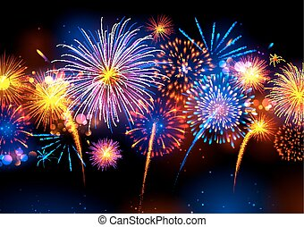 illustration of Realistic colorful Fireworks