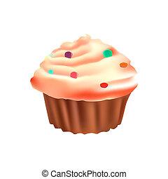 Illustration of realistic cupcake isolated on white background