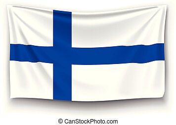 illustration of realistic flag of finland with shadow on white background