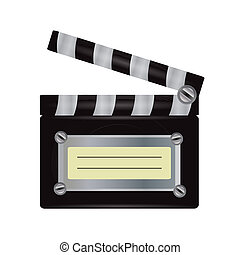 Illustration of realistic movie clapper isolated on white background