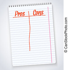 Illustration of Realistic spiral notebook pros cons notepad...