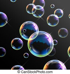 Realistic transparent soap bubbles - illustration of ...