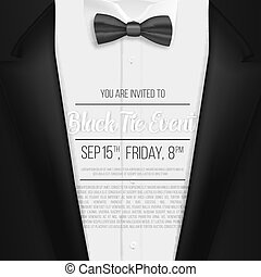 Realistic Vector Black Suit. Black Tie Event Invitation...