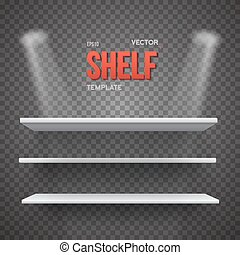 Realistic Vector Shelf With Transparent Lights. EPS10 Empty Shel