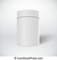 Realistic Vector White Tin Can Template Isolated on White Backgr