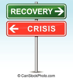 recovery and crisis directional sign - illustration of...