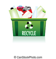 recycle bin - illustration of recycle bin on white...