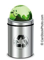 recycle bin with globe