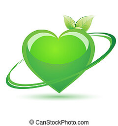recycle heart - illustration of recycle heart on white...