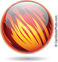 Red and Yellow Glossy Planet Sphere