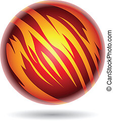 Red and Yellow Planet Sphere