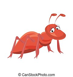 Illustration of red ant cartoon on white background