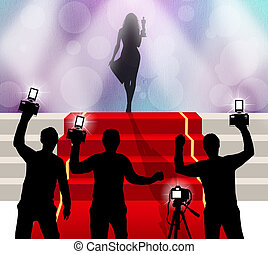 red carpet celebrity - illustration of red carpet celebrity