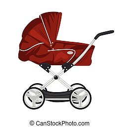 red child pram, baby carriage or stroller isolated on white background