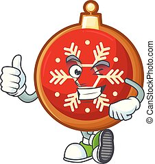 Illustration of red christmas ball while making thumbs up gesture.