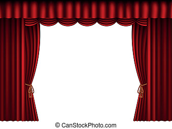 red curtains with blank space - illustration of red curtains...