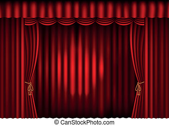 red curtains with spotlight - illustration of red curtains ...