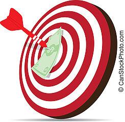 red dart hitting money on target