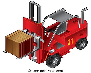 Illustration Of red forklift