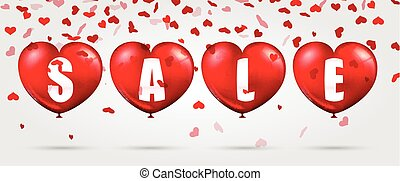 Red heart background with sale